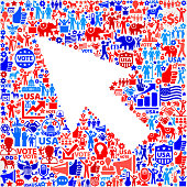 Arrow Vote and Elections USA Patriotic Icon Pattern. This 100% vector composition features red and blue vote and elections icon pattern. The icons vary in size and include such election iconography as voting, candidates, leadership, voting ballots, republican and democratic symbols and people participating in the voting process.