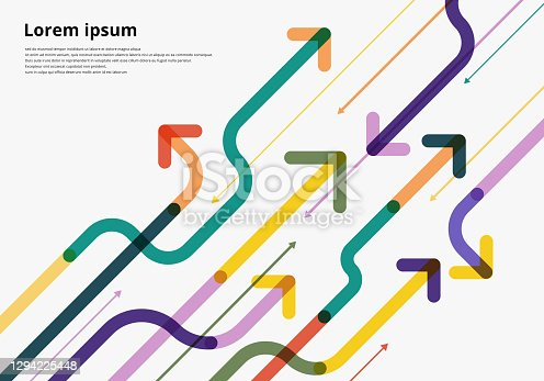 istock Arrow way diagonal direction colorful overlapping on white background 1294225448