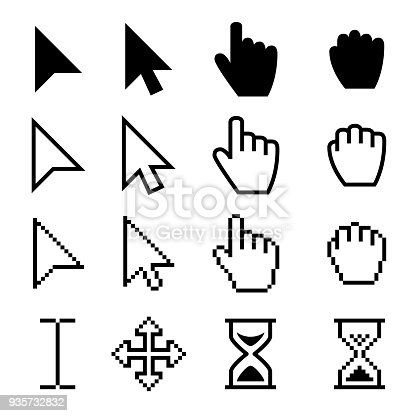 Arrow web cursors, digital hand pointers vector black pictograms. Arrow cursor pixel digital, web pointing and hourglass illustration