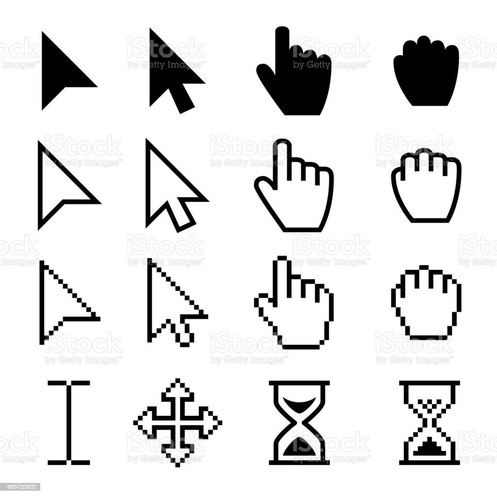 Arrow web cursors, digital hand pointers vector black pictograms vector art illustration