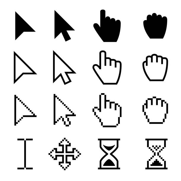Arrow web cursors, digital hand pointers vector black pictograms Arrow web cursors, digital hand pointers vector black pictograms. Arrow cursor pixel digital, web pointing and hourglass illustration pointing stock illustrations
