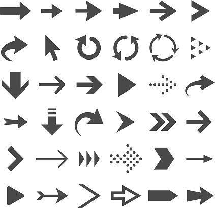 Arrow web icons isolated, cursor arrows, download and next page navigation buttons vector set