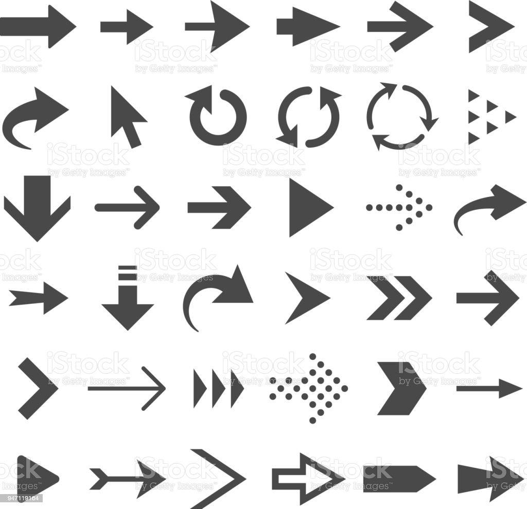 Ícones da seta da web isolados, as setas do cursor, download e botões de navegação de página seguinte vector conjunto - ilustração de arte em vetor