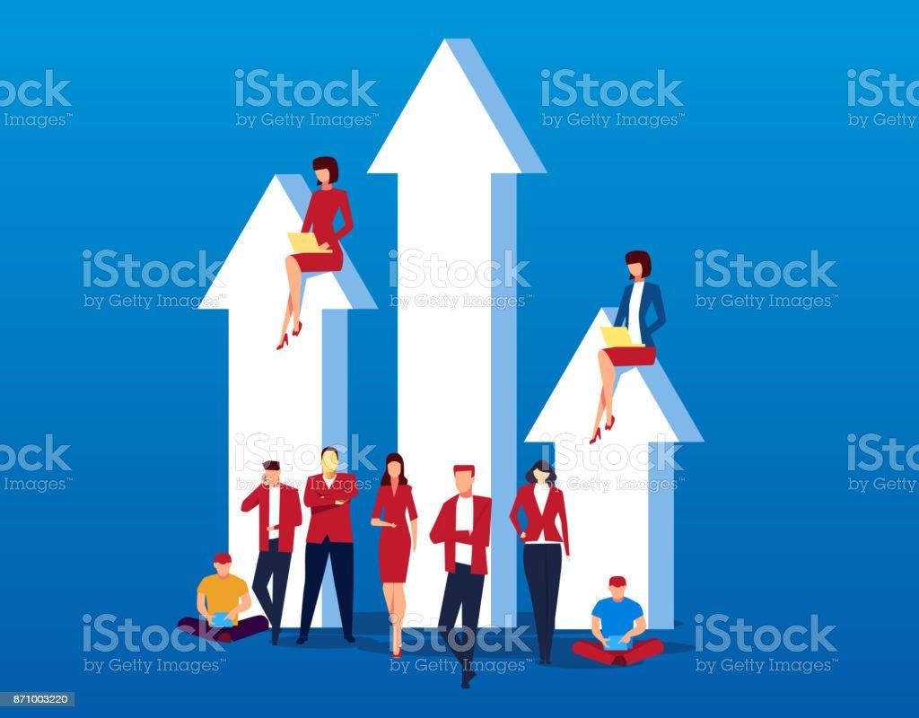 Arrow with business team vector art illustration