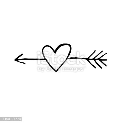 Arrow with heart vector doodle illustration. Love. St. Valentine's Day. Sticker, icon, coloring, decoration.