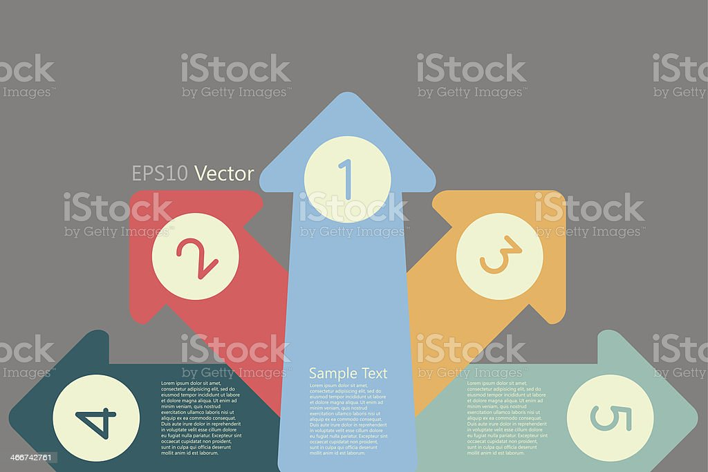 Arrow with numbers vector art illustration