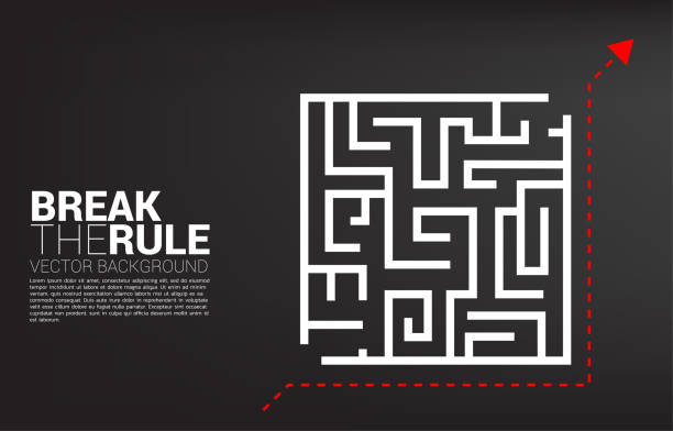 Arrow  with route path to go to goal with out enter maze. Business concept for think outside the box and break the rule. dishonesty stock illustrations