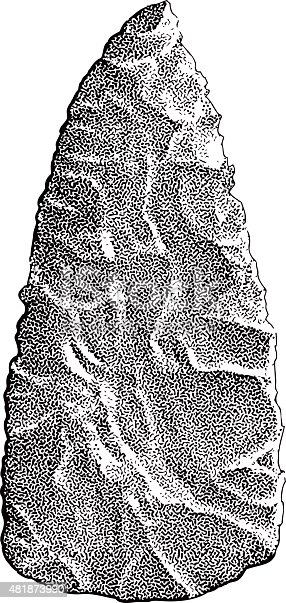 Black and white mezzotint illustration of an arrowhead artifact. From the southern Utah area. Isolated on white.