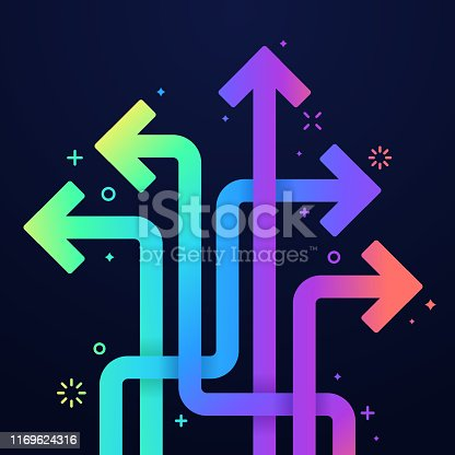 Vibrant rainbow colored arrows abstract background.