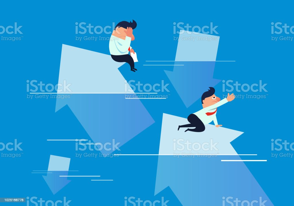 Arrows All Fall Into The Water Businessmen Ask For Help Stock Vector