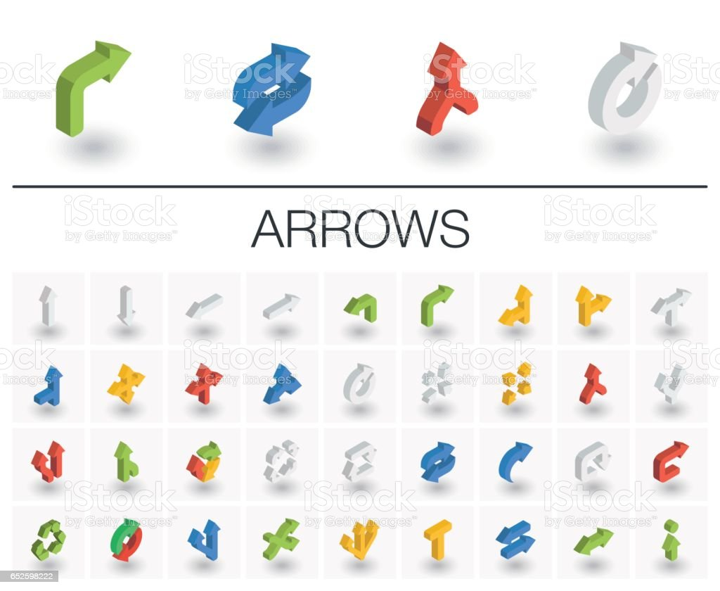 Arrows and direction isometric icons. 3d vector vector art illustration