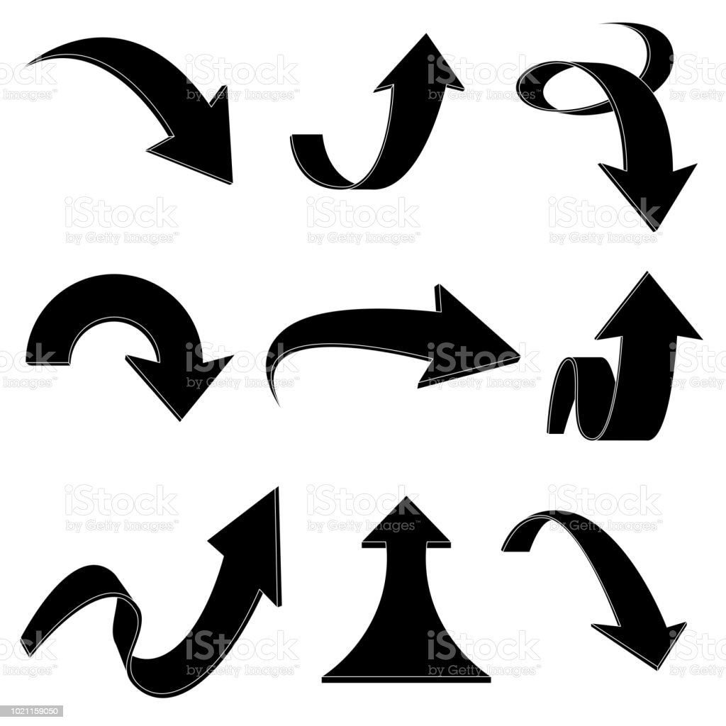 Arrows. Bent and curled up black flat icons vector art illustration