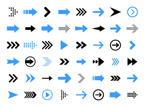 arrows big black set icons. arrow icon. arrow vector collection. arrow. cursor. modern simple arrows. vector illustration. - arrows stock illustrations