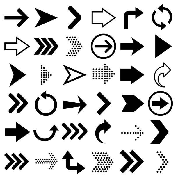 strzałki duże czarne ikony zestawu. ikona strzałki izolowana na białym tle ilustracja wektora - ruch stock illustrations