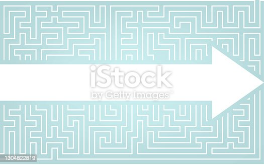 istock Arrows breaking through the maze, image illustrations breaking through preconceived ideas 1304822819