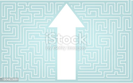 istock Arrows breaking through the maze, image illustrations breaking through preconceived ideas 1304822835