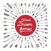 A collection of hand drawn arrows