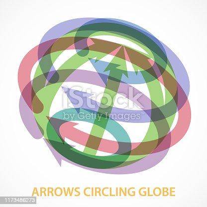 istock Arrows Circling Globe 1173486273