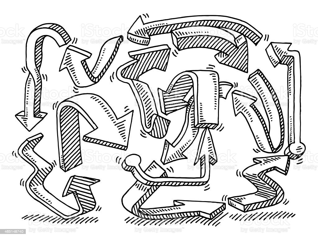 Circuito Ups : Dibujo flechas circuitous route illustracion libre de