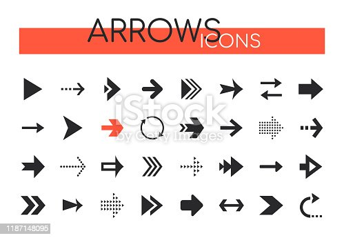 Arrows collection - set of navigational web elements. Different black buttons, icons showing the way left, forward, refresh, roundtrip isolated symbols for navigation, website loading, recycling signs