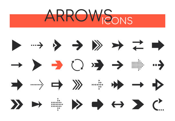 Arrows collection - set of navigational web elements vector art illustration