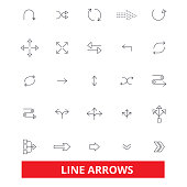 Arrows, direction, button, direction, traffic, weapon, bow line icons. Editable strokes. Flat design vector illustration symbol concept. Linear signs isolated on white background