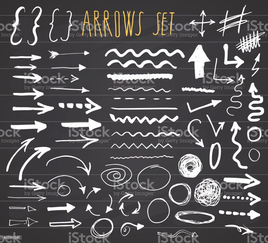 Arrows, dividers and borders, elements hand drawn set vector illustration on chalkboard background. royalty-free arrows dividers and borders elements hand drawn set vector illustration on chalkboard background stock illustration - download image now