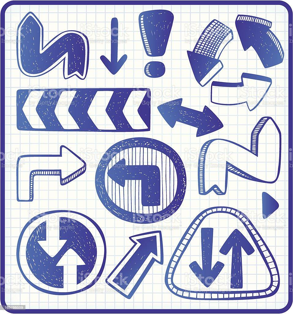 arrows doodle set royalty-free arrows doodle set stock vector art & more images of arrow symbol