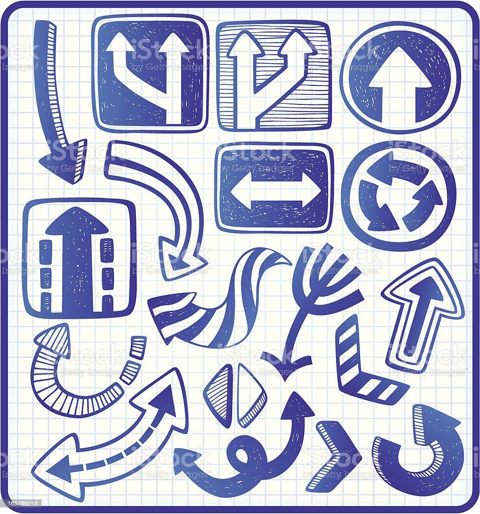 arrows doodle set royalty-free stock vector art