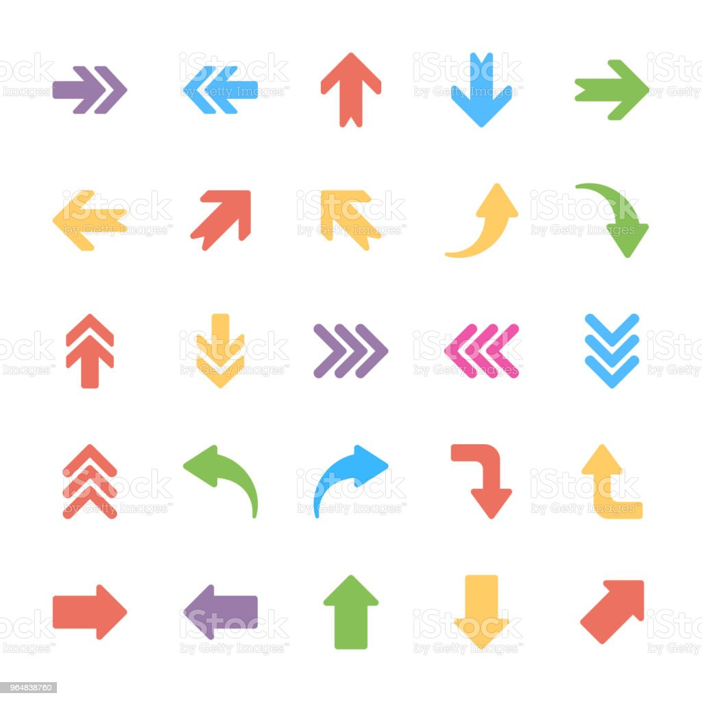 Arrows Flat Vector Icons Set royalty-free arrows flat vector icons set stock vector art & more images of arrow - bow and arrow