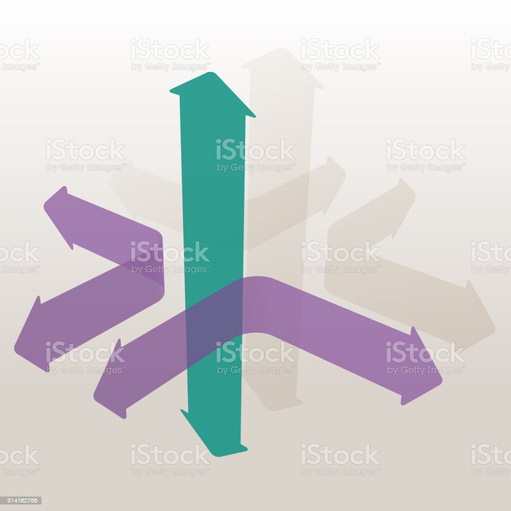 Arrows Going Different Ways vector art illustration