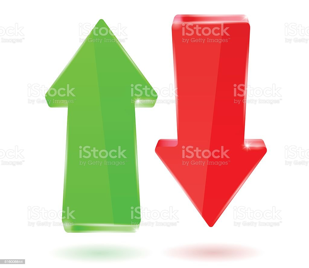 Arrows. Green and red, up and down vector art illustration