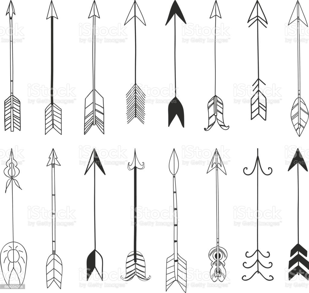 Arrows Hand Drawn Cute Line Art Vector Set Illustration ...
