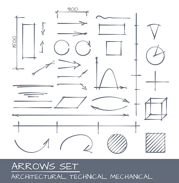 stockillustraties, clipart, cartoons en iconen met arrows hand drawn set - architectuur