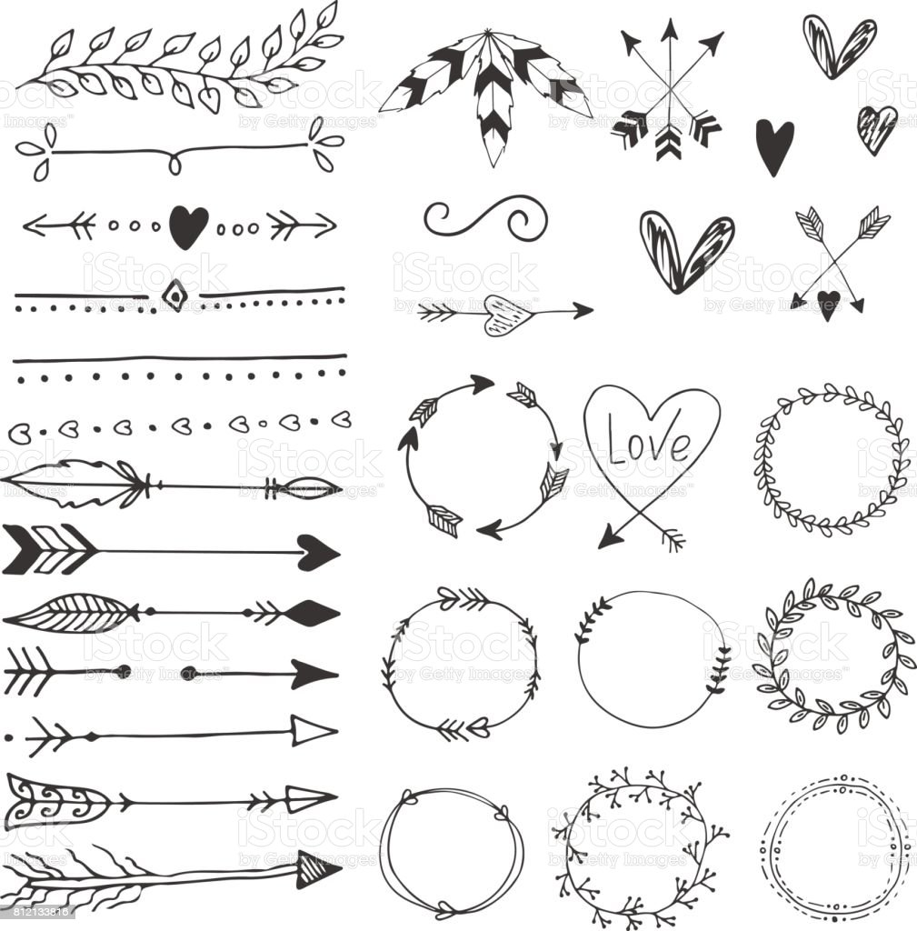 Arrows, hearts, ornament - handdrawn wedding decor elements in boho style. Vector collection. vector art illustration