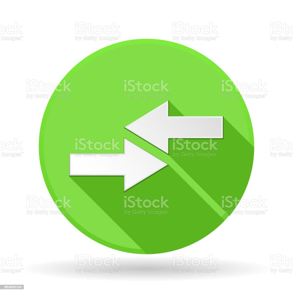 Arrows icon. Green round sign with shadow. Left and right combo arrows royalty-free arrows icon green round sign with shadow left and right combo arrows stock vector art & more images of advice