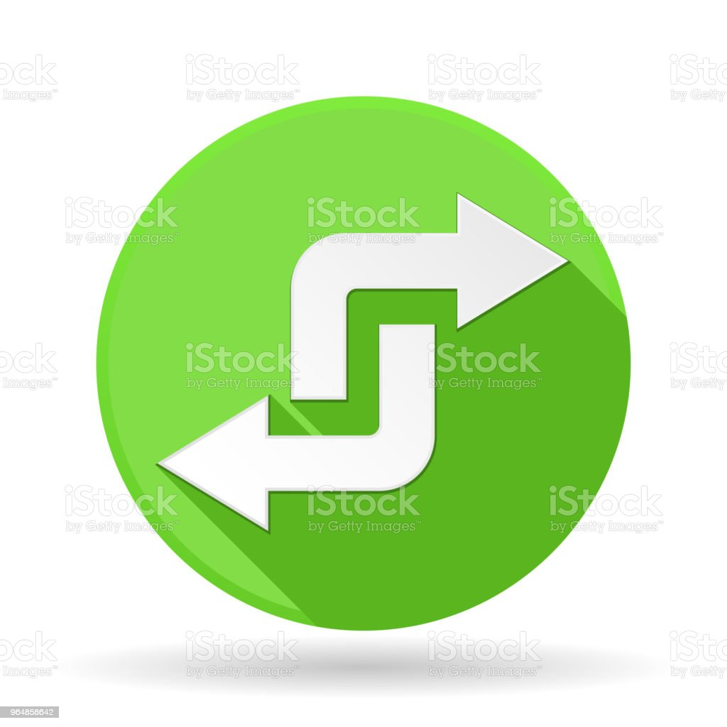 Arrows icon. Green round sign with shadow. Turning combo arrows royalty-free arrows icon green round sign with shadow turning combo arrows stock vector art & more images of advice