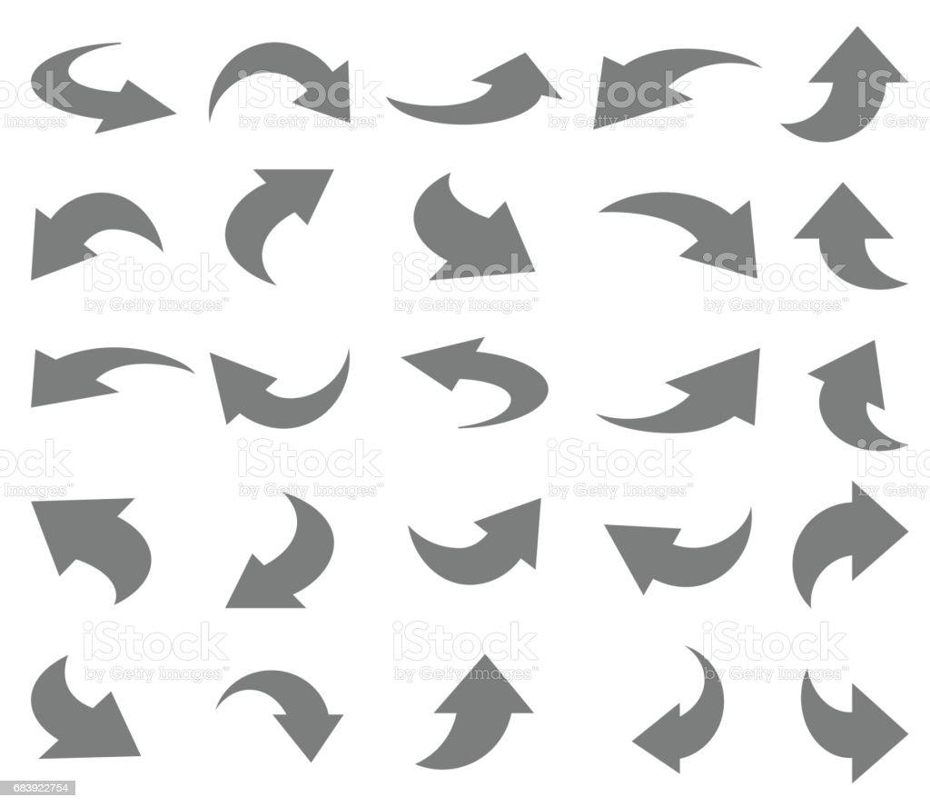 Arrows icon set vector art illustration
