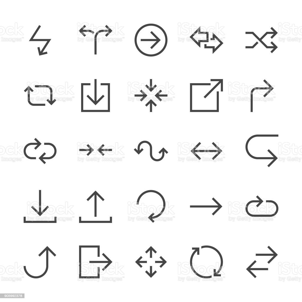 Arrows Icons - MediumX Line vector art illustration
