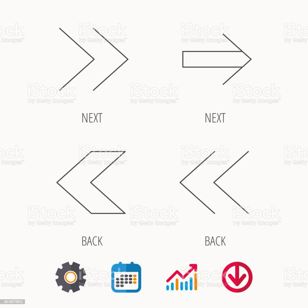 Arrows icons. Next, back linear signs. vector art illustration