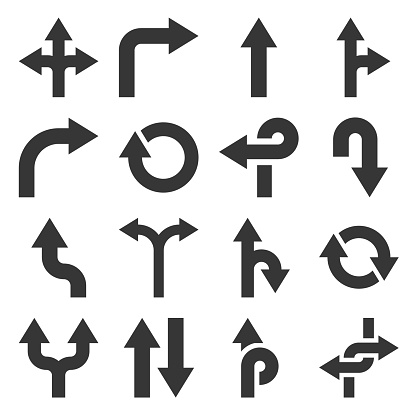 Arrows Icons Set on White Background. Vector