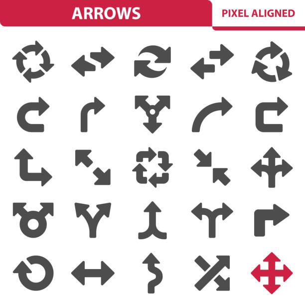 stockillustraties, clipart, cartoons en iconen met pijlen pictogrammen - rotonde kruispunt