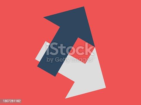 istock Arrows in different ways 1307281162