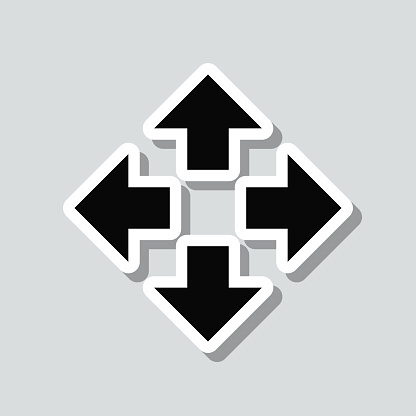 Arrows in four directions. Icon sticker on gray background