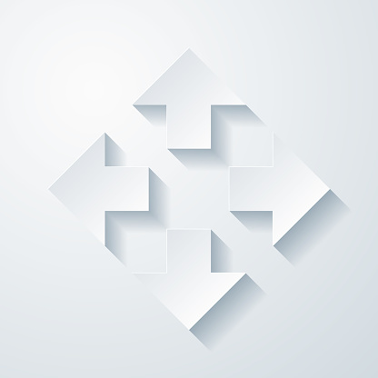 Arrows in four directions. Icon with paper cut effect on blank background