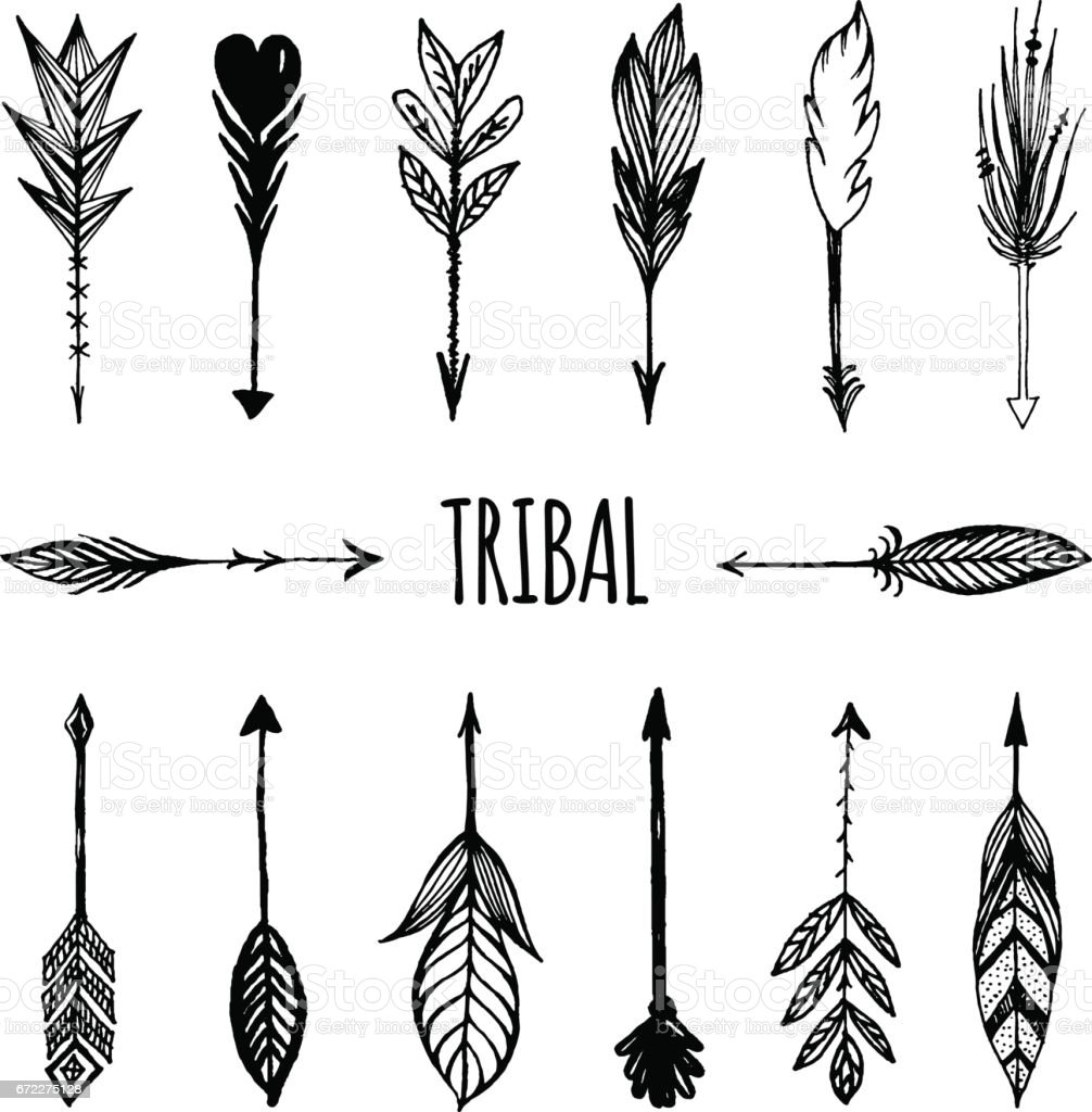 Arrows In Native American Indian Style Set Vector Illustration Stock