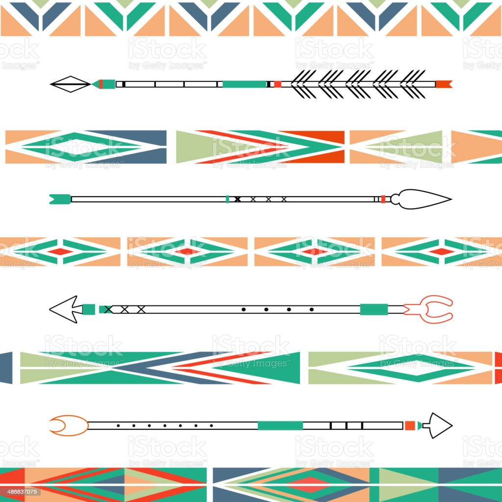 Arrows, Indian elements, Aztec borders and embellishments in vector vector art illustration