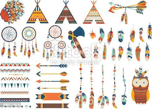 istock Arrows, Indian elements, Aztec ornaments geometric ethnic vector. Flat illustration. 496521626