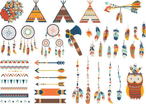 Arrows, Indian elements, Aztec ornaments geometric ethnic vector. Flat illustration.