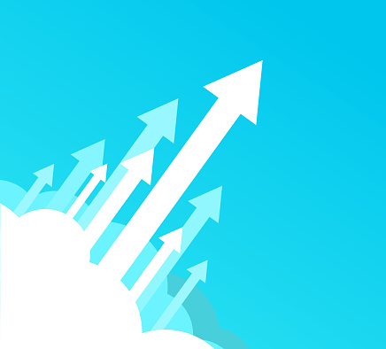 arrows rising above clouds business technology background template